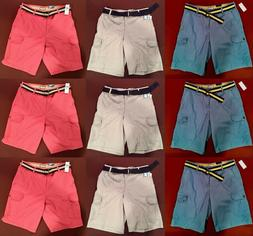 $65 NWT Izod Men's Shorts Belted Cargo Shorts Blue Red Plaid