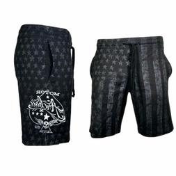 Archaic AFFLICTION Men Shorts NATION Athletic USA FLAG Fight