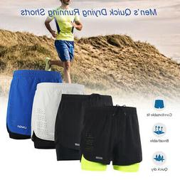 Arsuxeo Men's 2-in-1 Running Shorts Quick Drying Breathable