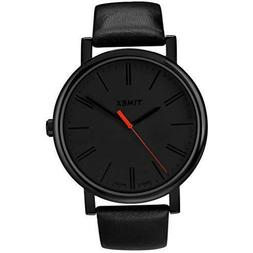 Timex Easy Reader Black Leather Strap Mens Watch T2N794