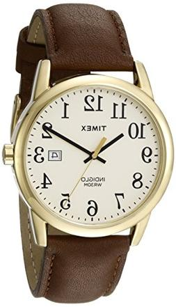 12ff224a3f1f Timex Men s Easy Reader - Brown Leather Strap Gold-Tone Dial