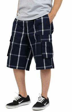 Hat and Beyond Mens Premium Plaid Cargo Shorts Relaxed Loose