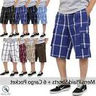 Mens PLAID SHORTS Cargo Pants Multi pockets light weight S-5