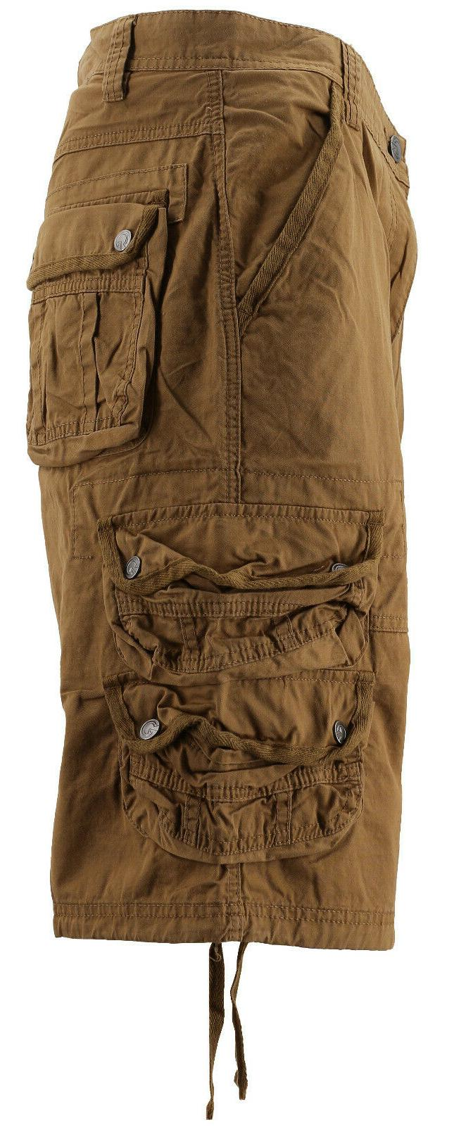 MSLM Men's Army Relaxed Fit Cotton Cargo Pocket Shorts Khaki