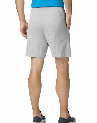 Hanes Men Shorts Jersey Pocket Elastic 100% Cotton Solid S to 4XL