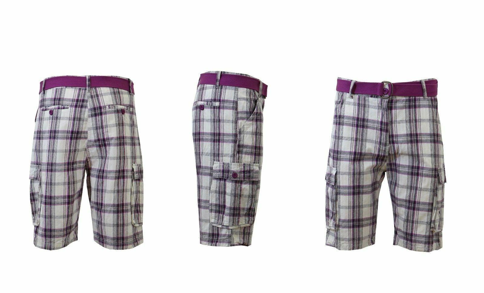Mens Belted Plaid Shorts