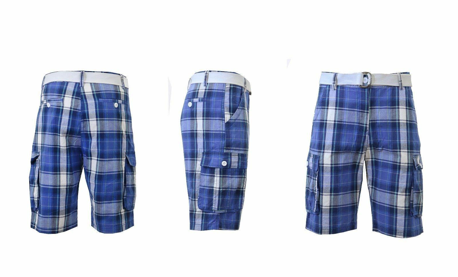 Mens Belted Plaid Cargo Shorts