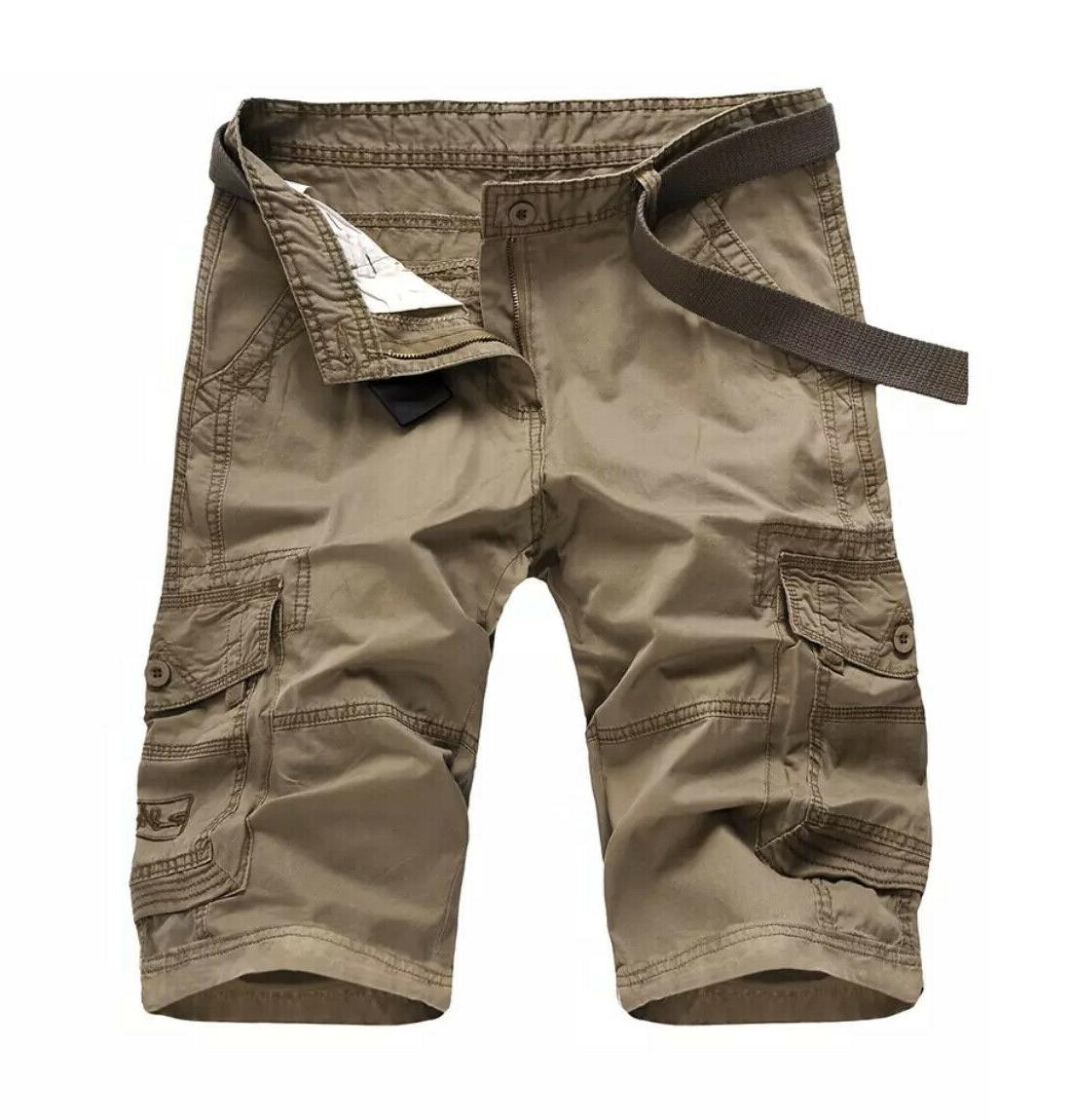 Men's Casual Cotton Multi Pockets Lightweight Outdoor belted