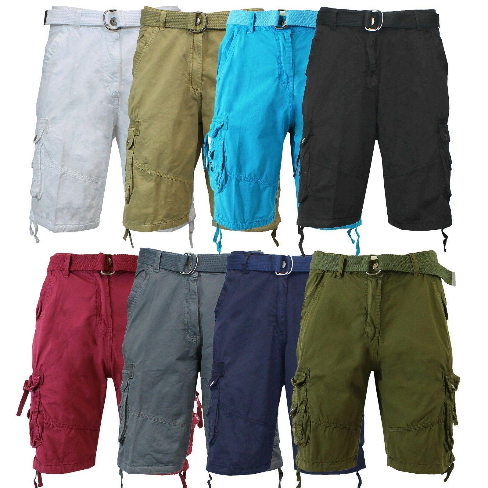 mens cargo shorts with belt 30 32