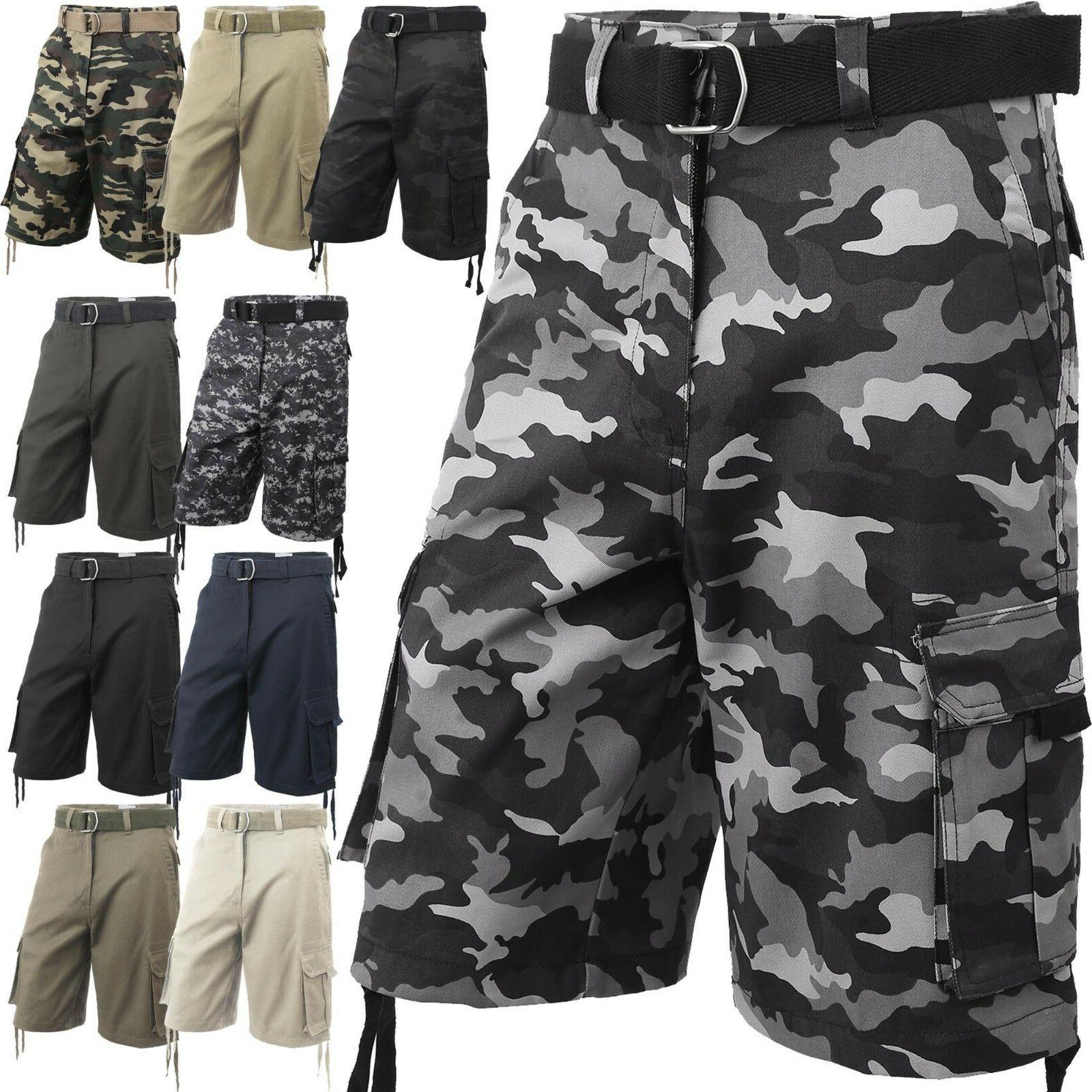 mens cargo shorts with belt 30 52