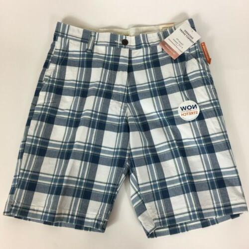 NEW Dockers Men's Classic Fit Flat Front Stretch Plaid Short