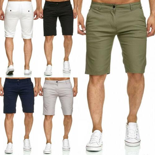 USA Fashion Summer Men's Slim Fit Casual Cotton Shorts Solid