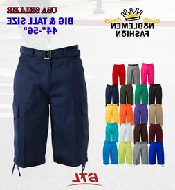 MEN BIG AND TALL CARGO SHORTS WITH BELT COTTON 19 COLORS TWI