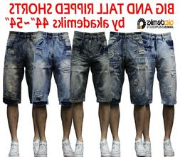Men big and tall akademiks jean shorts paint Ripped Denim Sh