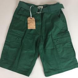 One Tough Brand Men's Classic Cargo Shorts Belted Cotton Gre
