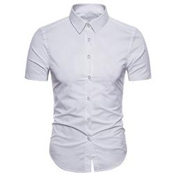 Manwan Walk Men's Dress Shirts Slim Fit Short Sleeve Casual