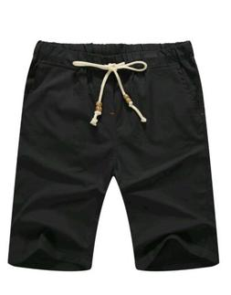 NITAGUT Men's Linen Casual Classic Fit Short  011Black