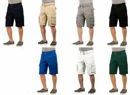 Mens Twill Cargo Shorts with Belt Short Pants Summer Multi P