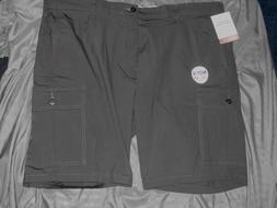 Men's New Size 42 Dockers Gray Flat Front Cargo Casual Short