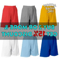 MEN'S PLAIN MESH SHORTS CASUAL BASKETBALL SHORTS 2 POCKET GY
