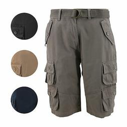 Men's Relaxed Fit Cotton Belted Cargo Shorts With Multiple B