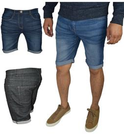 Men's Slim Fit Stretch Denim Shorts Jeans Flat Front Half Pa