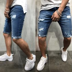 Men's Straight Slim Short Jeans Casual Pants Ripped Skinny D