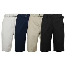Mens 100% Cotton Flat Front Cargo Shorts Includes Belt for C