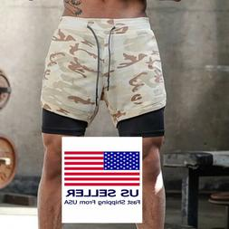 Men's 2in1 Running Shorts with Phone Pockets Quick Dry Wor