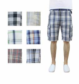 Mens Belted Plaid Cargo Shorts 100% Cotton