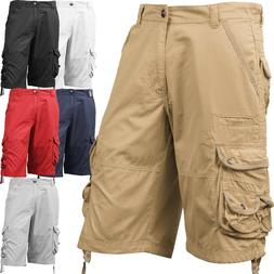 Mens Cargo Shorts Casual Multi Pocket Short Twill Cotton Pan