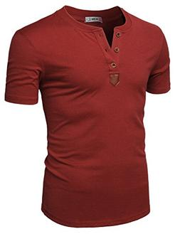 H2H Mens Casual Colorblock Short Sleeve Henley T-Shirts Wine