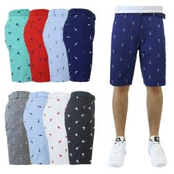Mens Flat-Front Printed Cotton Shorts Design Pattern Pockets