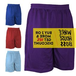 MENS PLAIN MESH SHORTS 2 POCKET CASUAL BASKETBALL SHORTS GYM
