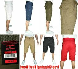 mens premium cargo belted shorts 100 percent