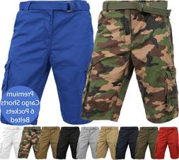 Mens PREMIUM CARGO SHORTS Belted Pants Outdoor Twill Cotton