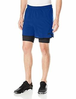 Under Armour Mens Qualifier 2-in-1 Shorts Blue Marker/Black