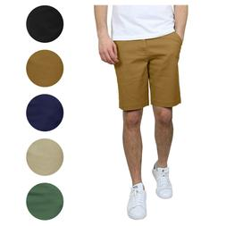 Mens Stretch Chino Shorts Flat Front 5 Pocket Summer Casual