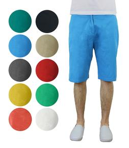 Mens Washed Flat Front Shorts Lounge Cotton Pockets Belt Loo