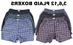 New 3-12 Mens Boxer Check Plaid Shorts Trunk Underwear Cotto
