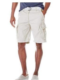 NEW UNIONBAY Men's Survivor Belted Cargo Short, Stone, 32 Gr