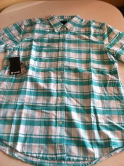 New Mens Hurley Button Down Street Skate Surf Causal Short S