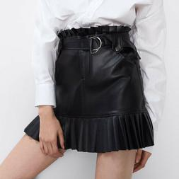 ZARA NWT Large Black High Rise Belted Pleated Faux Leather M