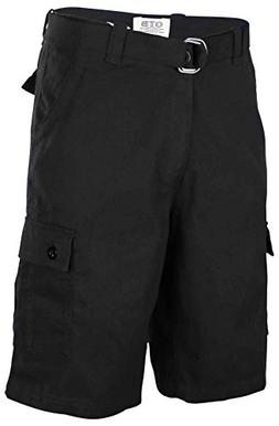 One Tough Brand Men's Cotton Twill Belted Cargo Shorts-Black