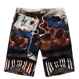 iOPQO Shorts for Men, Summer Sports Casual Print Beach Short