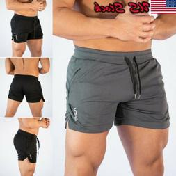 USA Men Swim Fitted Shorts Bodybuilding Workout Gym Running
