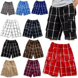 Shaka Wear Men's Checkered Relaxed Fit Plaid Cargo Shorts Lo