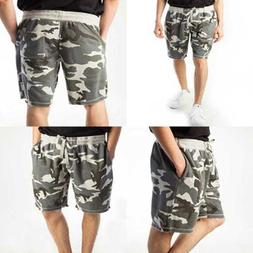 Rebel Canyon Young Men's Camo Jogger Short LARGE GREY FREE S